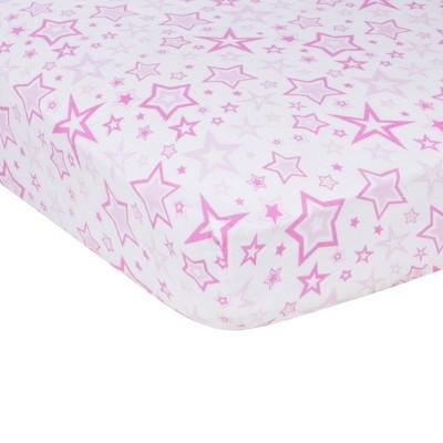 MiracleWare Stars Muslin Crib Sheet Pink