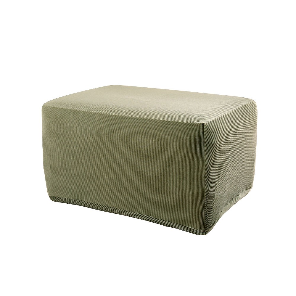 Stretch Stripe Ottoman Slipcover Sage (Green) - Sure Fit