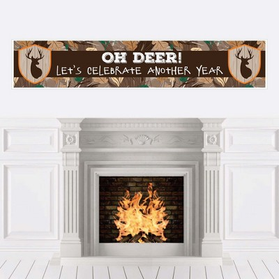 Big Dot of Happiness Gone Hunting - Deer Hunting Camo Happy Birthday Decorations Party Banner