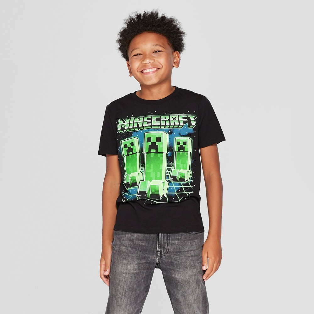 Boys' Minecraft Short Sleeve Graphic T-Shirt - Black XS