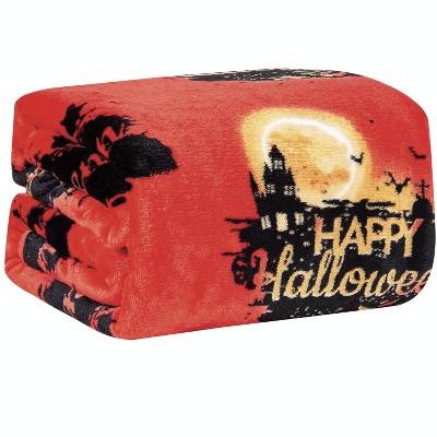 Kate Aurora Ultra Soft & Cozy Oversized Happy Halloween Themed Plush Throw Blanket - 50 in. W x 60 in. L