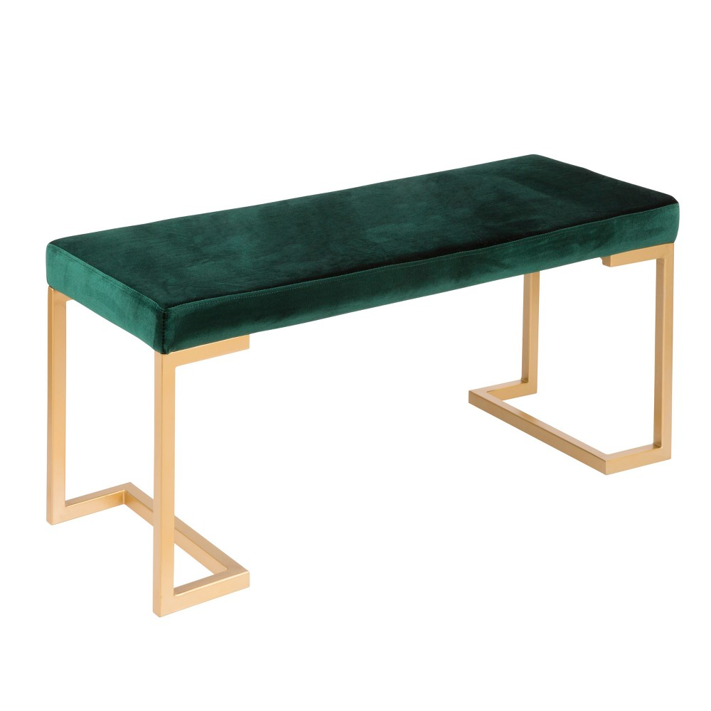 Midas Contemporary Entryway Dining Bench Gold with Green Velvet Cushion - Lumisource