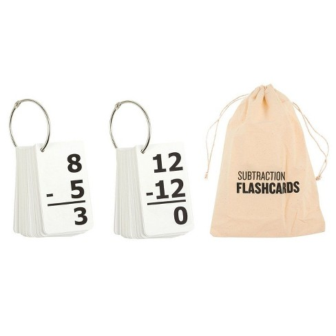 169-Count Kids Math Flashcards, 0-12 Subtraction Flash Cards with Rings & Carrying Pouch, 1st 2nd Grade Counting Game, 2.8 x 5 inches - image 1 of 3