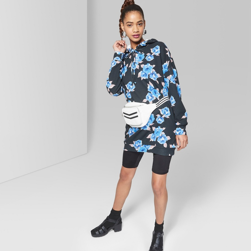 Women's Long Sleeve Floral Hooded Sweatshirt Dress - Wild Fable Black/Blue M was $25.0 now $11.25 (55.0% off)