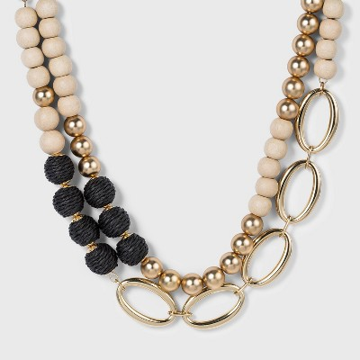 2 Row Wrapped Link Chain Necklace - A New Day™ Black