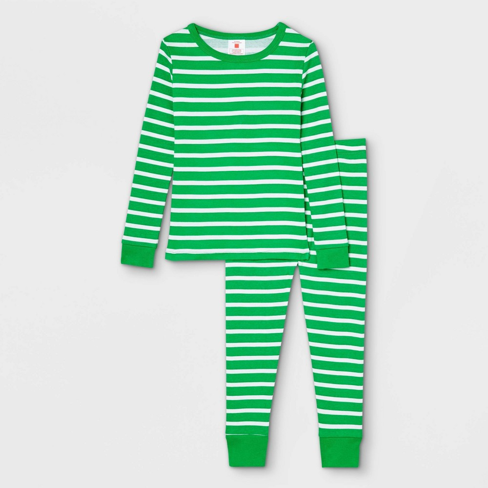 Toddler Striped 100 Cotton Tight Fit Matching Family Pajama Set Green 2t