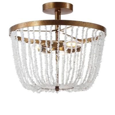"15"" Stone/Metal Georgian Flush Mount Ceiling Light (Includes Energy Efficient Light Bulb) Antique Gold - JONATHAN Y"