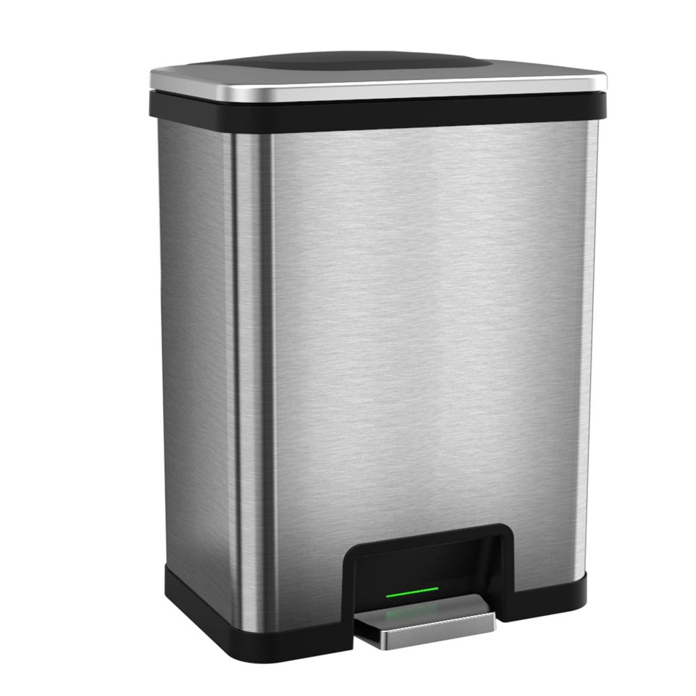Image of 13gal TapCan Stainless Steel Step Pedal Sensor Trash Can with Black Trim - Halo, Silver