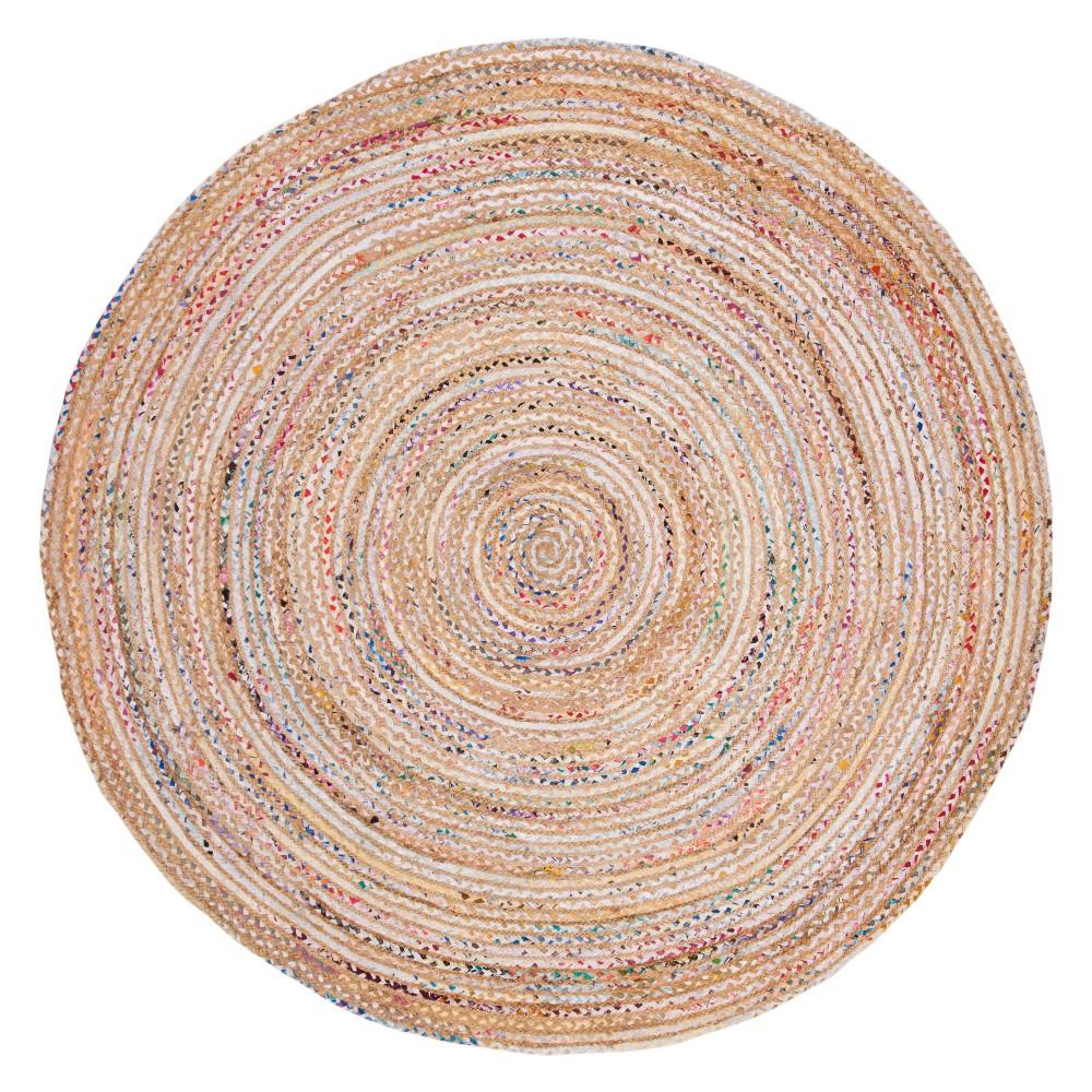 7' Stripe Woven Round Area Rug Beige - Safavieh, Beige/Multi-Colored