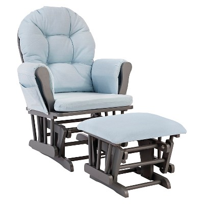Stork Craft Hoop Gray Glider and Ottoman - Light Denim
