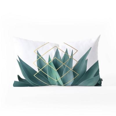 Gale Switzer Agave Geometrics Oblong Lumbar Throw Pillow Green - Deny Designs