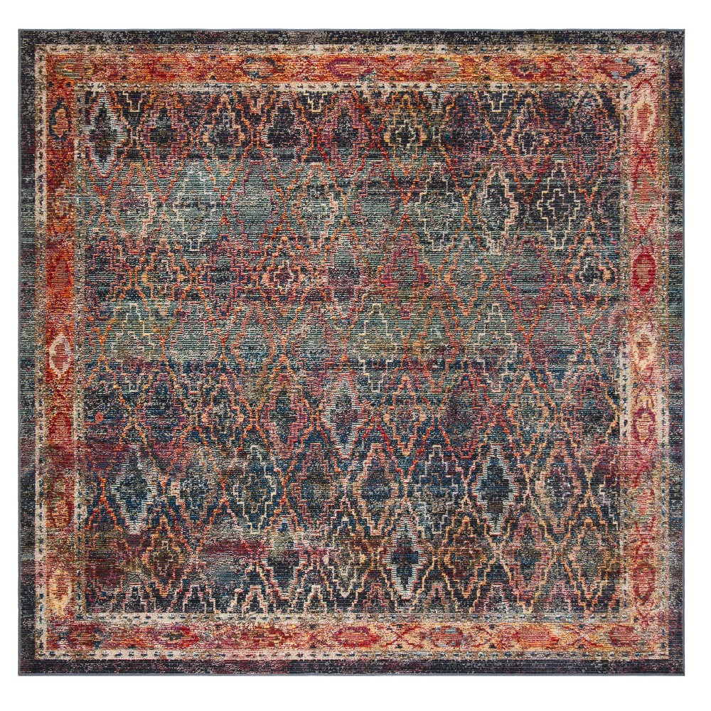 Navygold Bluegold Tribal Design Loomed Square Area Rug 7x7