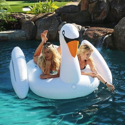 Gofloats Giant Large Inflatable Voyage Swan Pool Lake Water Float Raft,  White