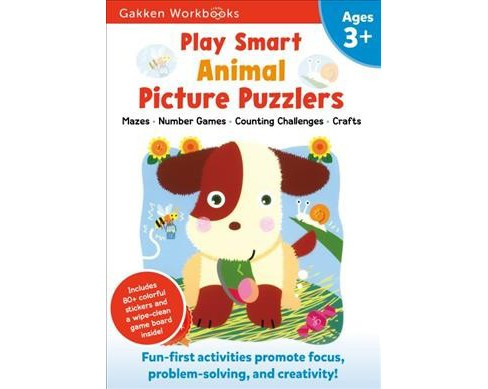 Play Smart Animal Picture Puzzlers 3+ -  (Gakken Workbooks) (Paperback) - image 1 of 1