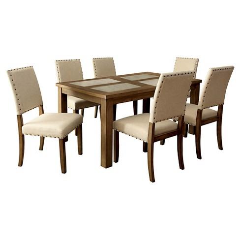 7pc Ardougne Stone Inserted Wood Dining Table Set Natural Tone Sun Pine