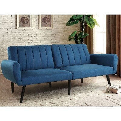 Costway Sofa Futon Bed Sleeper Couch Convertible Mattress Premium Linen Upholstery Blue