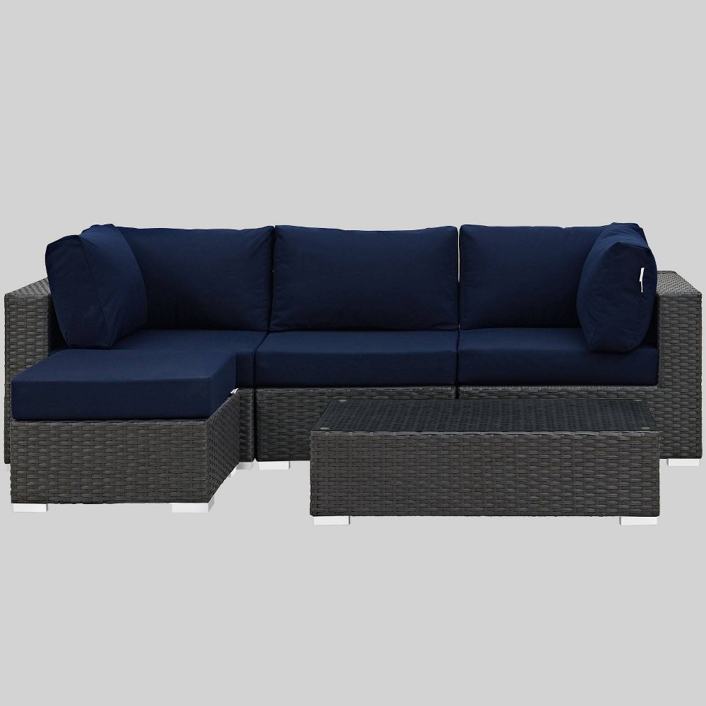 Sojourn 5pc Outdoor Patio Sectional Set with Sunbrella Fabric - Navy (Blue) - Modway