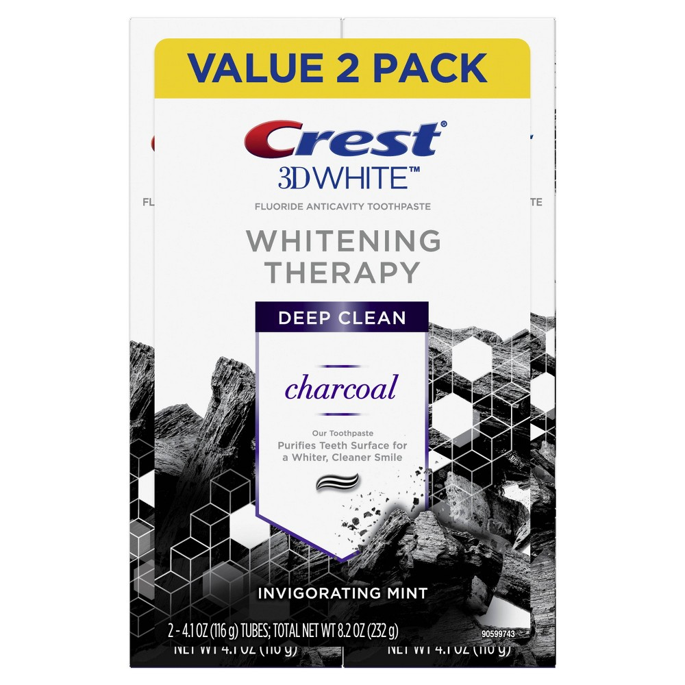 Crest 3d White Whitening Therapy Charcoal Deep Clean Fluoride Toothpaste Invigorating Mint 4 1oz