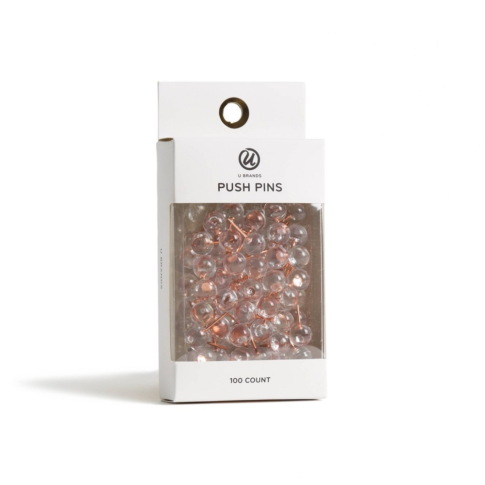 Image of 100ct Push Pins Clear - UBrands, Gold Clear