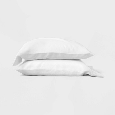 Standard 100% Linen Solid Pillowcase Set White - Casaluna™