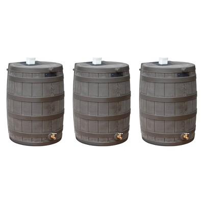 Good Ideas Rain Wizard 50 Gallon Plastic Rain Barrel with Brass Spigot (3 Pack)