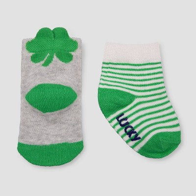 Baby 2pk Shamrock Crew Socks - Just One You® made by carter's Green/Gray 6-12M