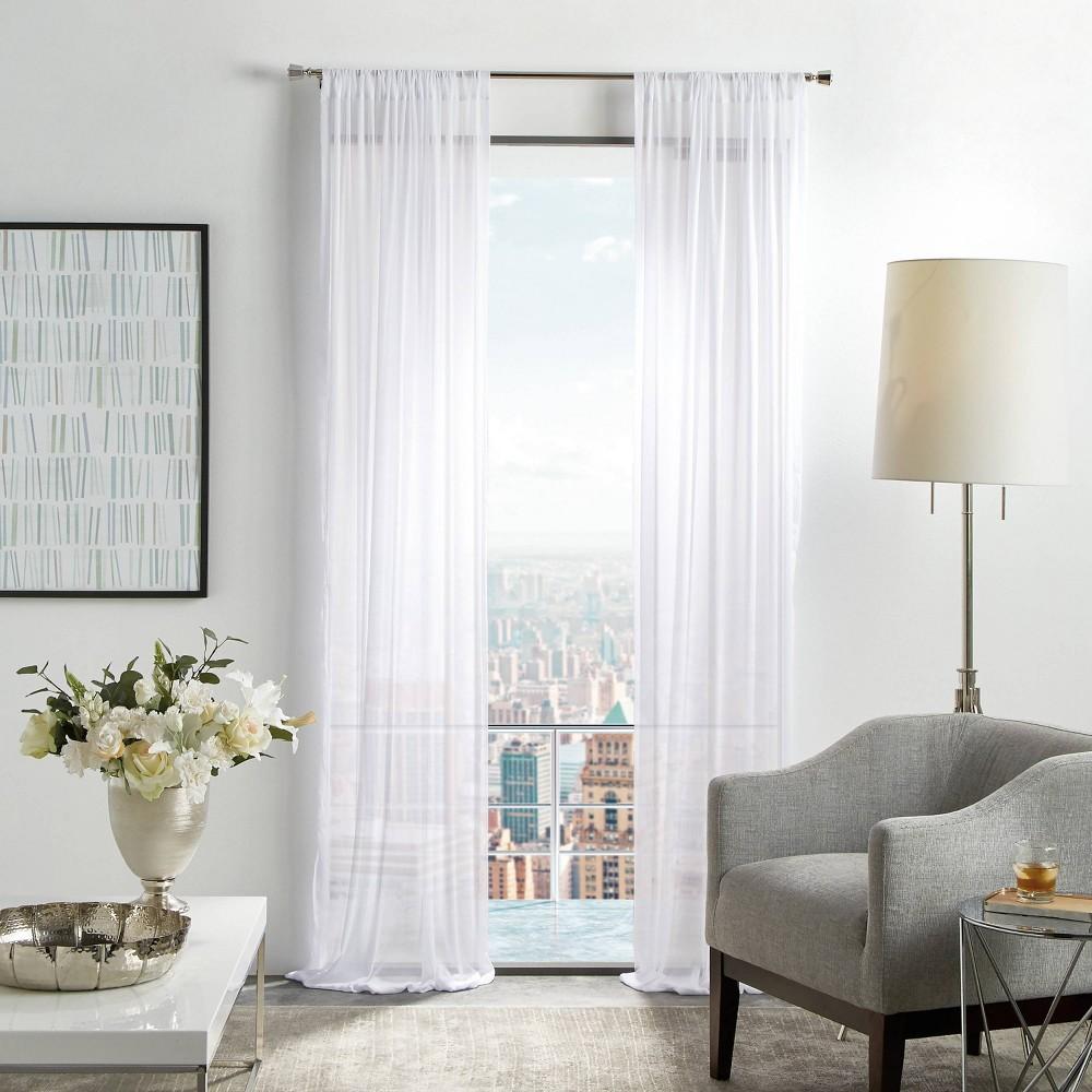 "Image of ""Set of 2 84""""x50"""" Glacier Sheer Curtain Panels White - Martha Stewart"""