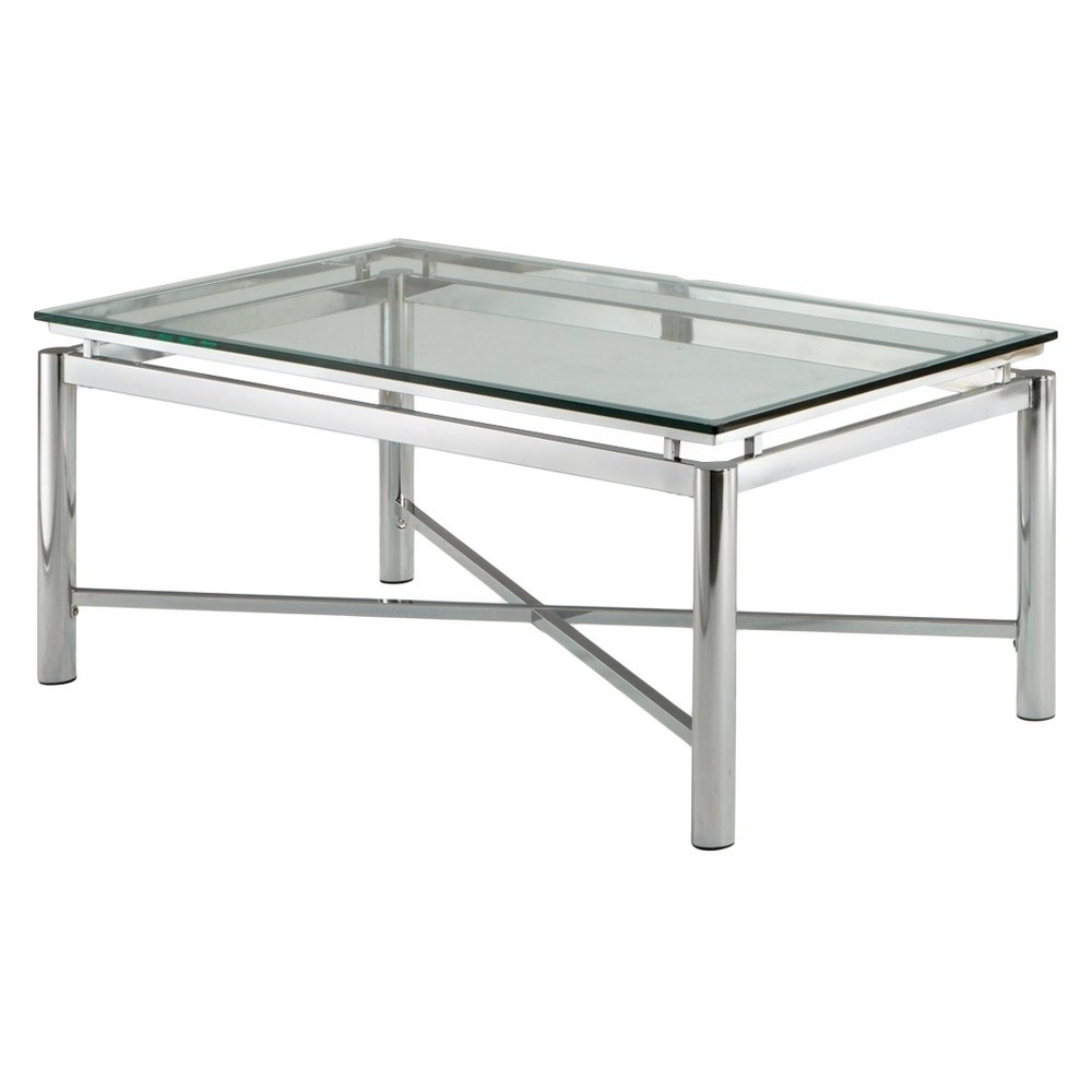 Nova Cocktail Table Chrome and Glass - Steve Silver