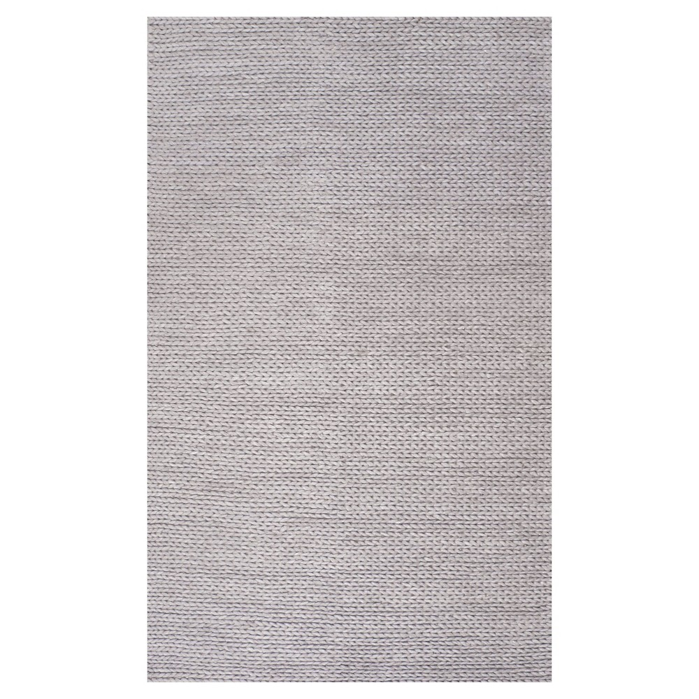 Sterling Gray Solid Braided Square Area Rug - (6') - nuLOOM, Light Gray