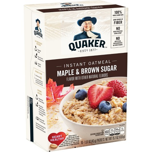 quaker instant oatmeal maple brown sugar 10ct target