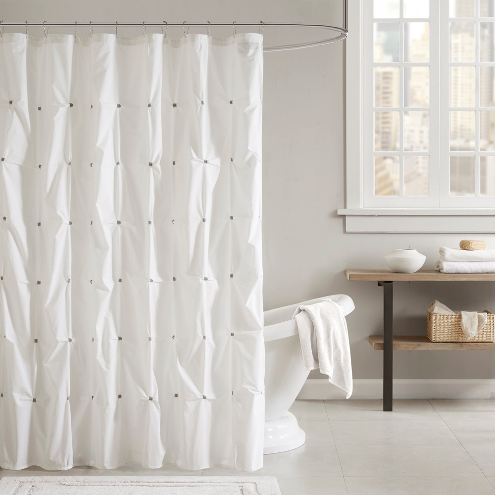 """Image of """"72""""""""x72"""""""" Masie Cotton Shower Curtain Ivory, White"""""""
