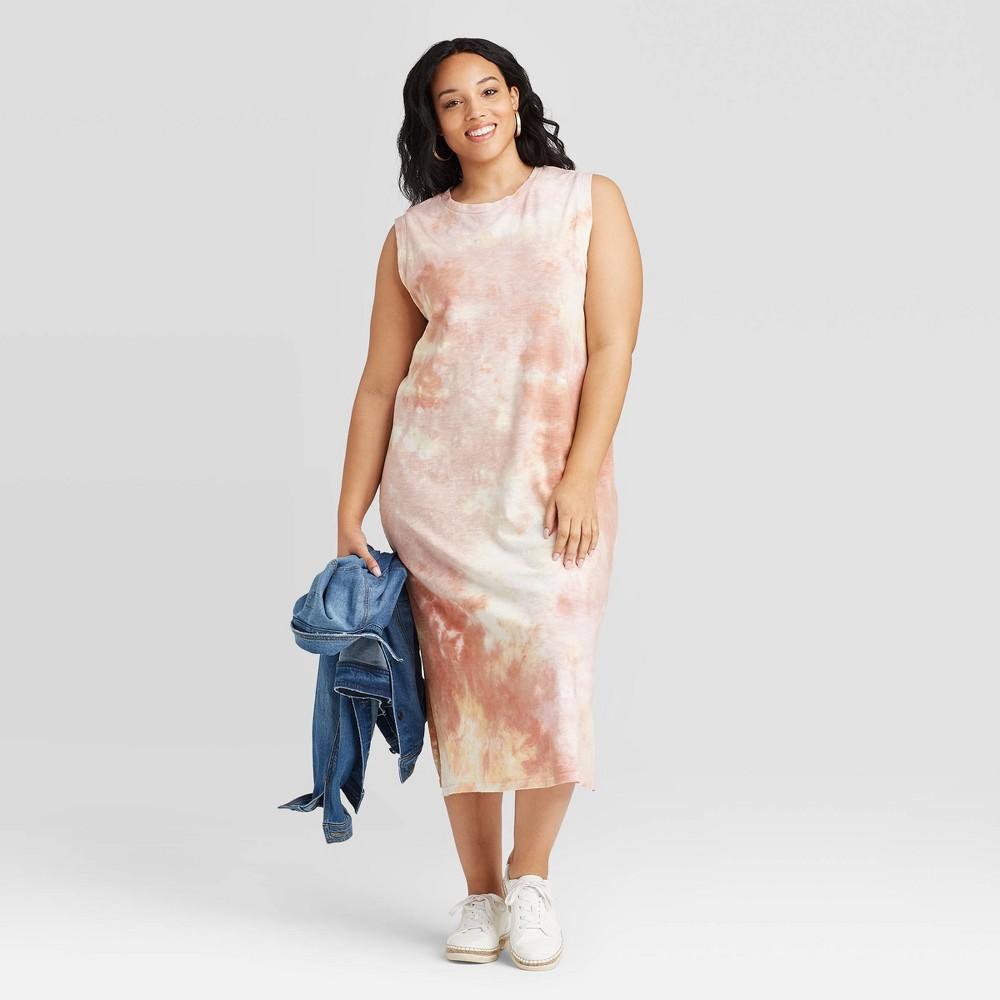 Women 39 S Plus Size Tie Dye Sleeveless Dress Universal Thread 8482 Pink 1x