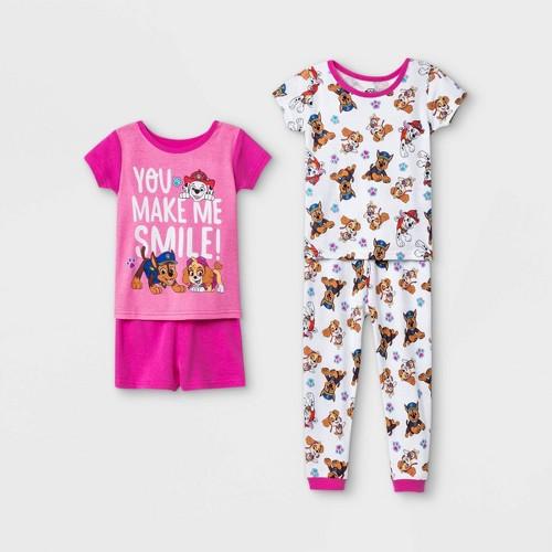 Toddler Girls 4pc 100 Cotton PAW Patrol Snug Fit Pajama Set