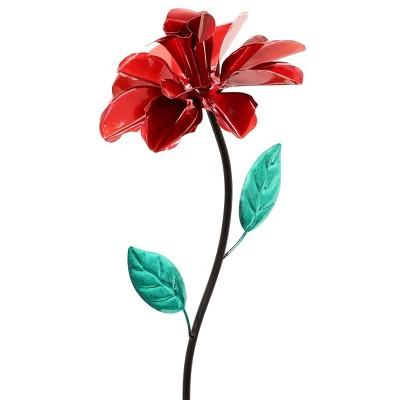 """39"""" Metal Rose Spinning Garden Stake Red - Exhart"""