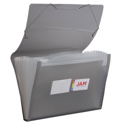 "JAM Paper 10"" x 15"" 13 Pocket Plastic Expanding File Folder - Legal Size - Gray"