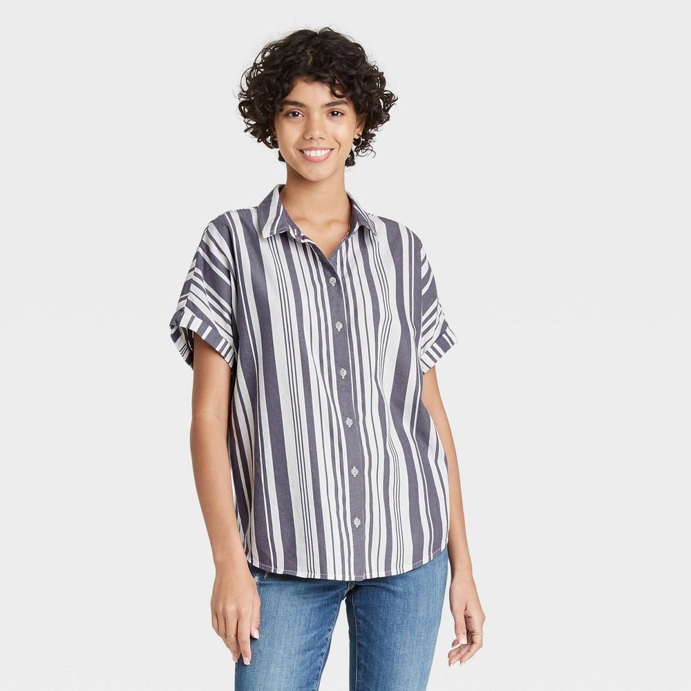 Women 39 S Striped Dolman Short Sleeve Button Down Shirt Universal Thread 8482 Gray Xs