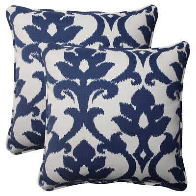 Outdoor 2-Piece Square Toss Pillow Set - Blue/White Damask