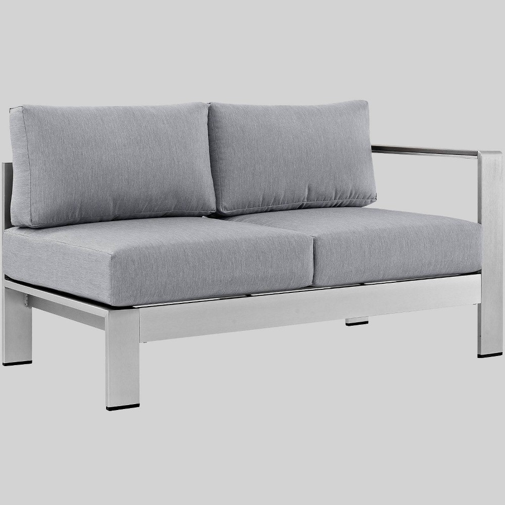 Shore Right-Arm Corner Sectional Outdoor Patio Aluminum Loveseat - Gray - Modway
