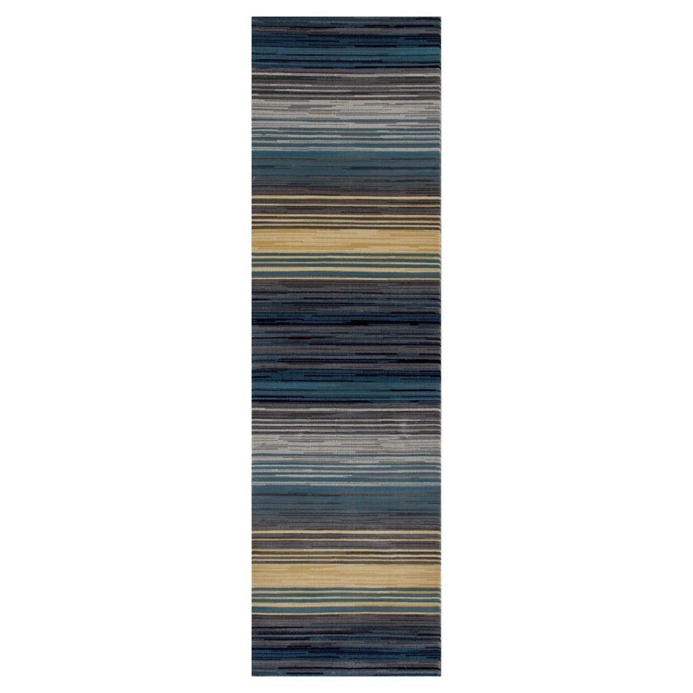 Image of Blue Stripe Woven Runner - (2'X8') - Art Carpet, Size: 2'X8' RUNNER