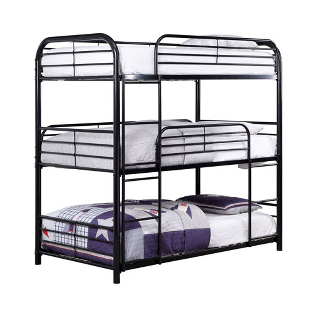 Twin Wills Kids Bunk Bed Triple Bunk Bed Black - Homes: Inside + Out