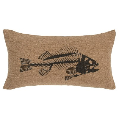 Fish Fossil Poly Filled Pillow Brown/Black - Rizzy Home