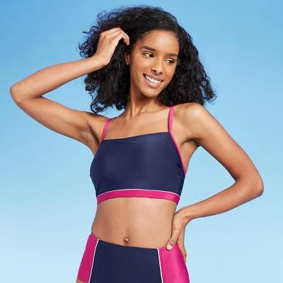 Women's Longline Square Neck Bikini Top - All in Motion™ Cranberry/Navy Colorblock