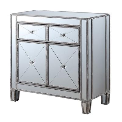Gold Coast Vineyard 2 Drawer Mirrored Cabinet Weathered Gray - Johar Furniture