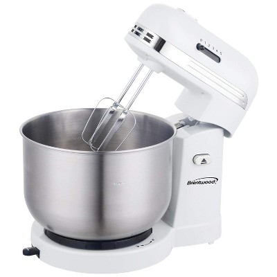 Brentwood SM-1162W 250 Watt 5 Speed 3.5 Quart Kitchen Chef Countertop Baking Stand Mixer with 2 Beaters and Dough Hook Attachment, White