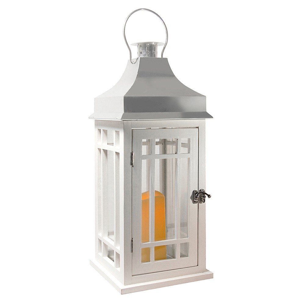 Image of Wooden LED Lantern With Chrome Roof and Battery Operated Candle White - LumaBase