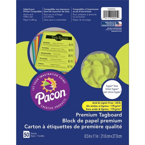 Pacon Premium Tagboard, 8-1/2 x 11 Inches, Hyper Lime, 50 Sheets - image 1 of 1