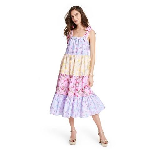 Women's Margaux Tie-Strap Tiered Dress - LoveShackFancy for Target (Regular & Plus) Pink/Lavendar - image 1 of 4