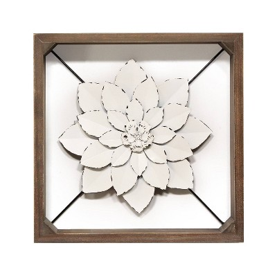 "15.75"" Framed Metal Flower White - Stratton Home Décor"