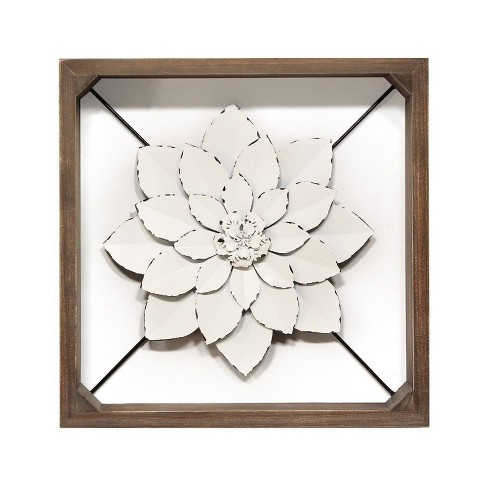 "15.75"" Framed Metal Flower White - Stratton Home Décor - image 1 of 4"
