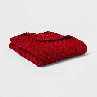 Chunky Knit Throw Blanket Red - Threshold™
